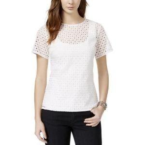 Michael Kors white eyelet short sleeves blouse
